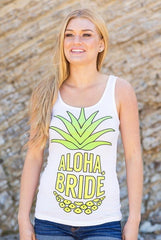 "Super cute ""Aloha Beaches"" and ""Aloha Bride"" neon beachy pineapple bachelorette party shirts available at bachette.com! Funny bachelorette party tops!"