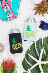 "Super cute ""Aloha Beaches"" and ""Aloha Bride"" neon beachy pineapple bachelorette party koozies available at bachette.com"