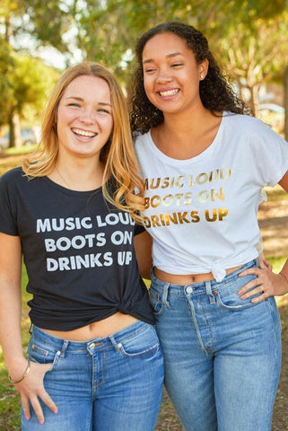 Country Bachelorette Party Shirts - Music Loud Boots On Drinks Up