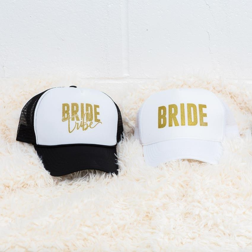 Bride and Bride Tribe hand-lettered gold bachelorette party hats! Trucker hats for the bachelorette - Cute bachelorette party accessories