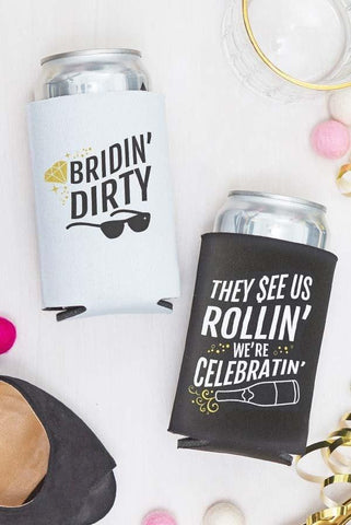 fun bridin dirty bachelorette party koozies! Adorable bachelorette accessories and decorations!