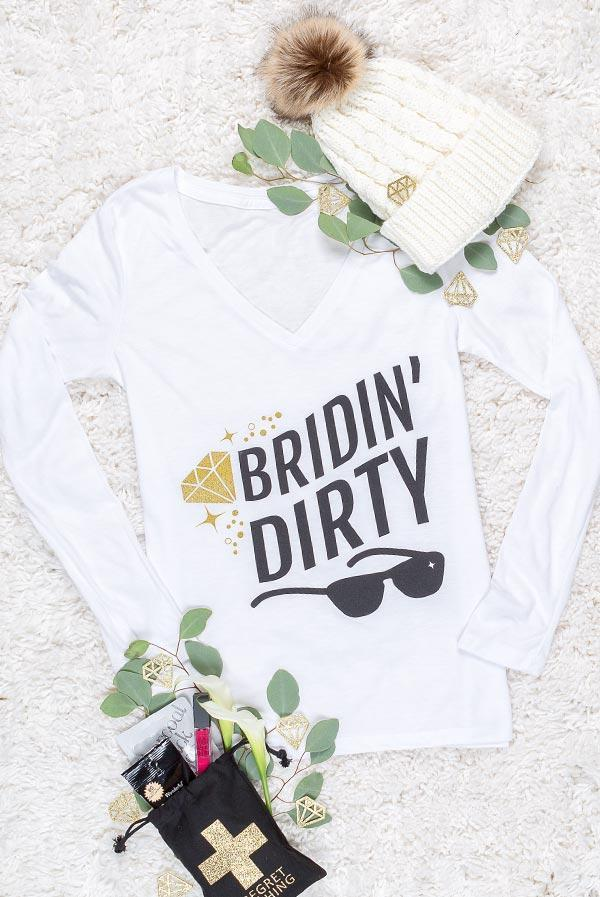 bridin dirty long sleeve bachelorette party shirts! Go skiing for the bachelorette