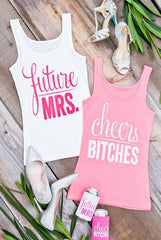 Funny and glittery cheers bitches and future mrs bachelorette party shirts!