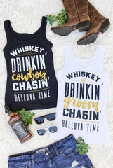Fun and flirty Whiskey Drinkin' Groom Chasin' Helluva Time gold and metallic country bachelorette party shirts! Perfect for a Nashville Bachelorette! Whiskey Drinkin' Cowboy Chasin' Helluva Time!