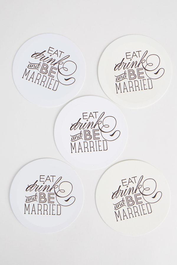 Eat, Drink and Be Married Black Letterpress Party Coasters