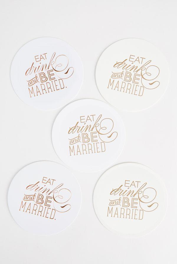Eat, Drink and Be Married Gold Letterpress Party Coasters