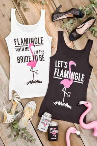 "Adorable ""Flamingle with me I'm the Bride to Be"" and ""Let's Flamingle"" Flamingo bachelorette party shirts! SO CUTE and perfect for a bachelorette party!"