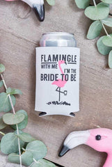 Adorable flamingo bachelorette party koozies - flamingle with me I'm the bride to be and let's flamingle black and pink koozies - bachelorette party accessories