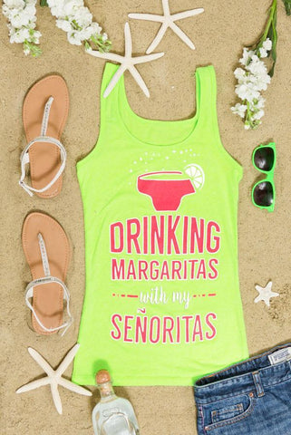Fun Neon Bachelorette Party Shirts - Drinking Margaritas with my Señoritas