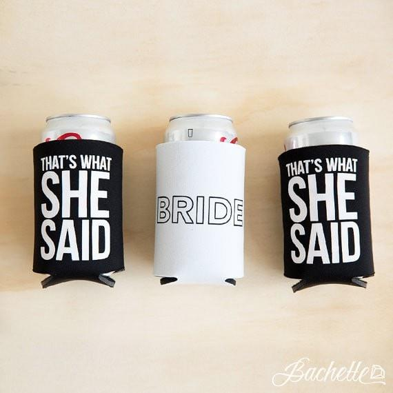 "Funny ""I Said Yes"" and ""That's What She Said"" bachelorette party koozies"