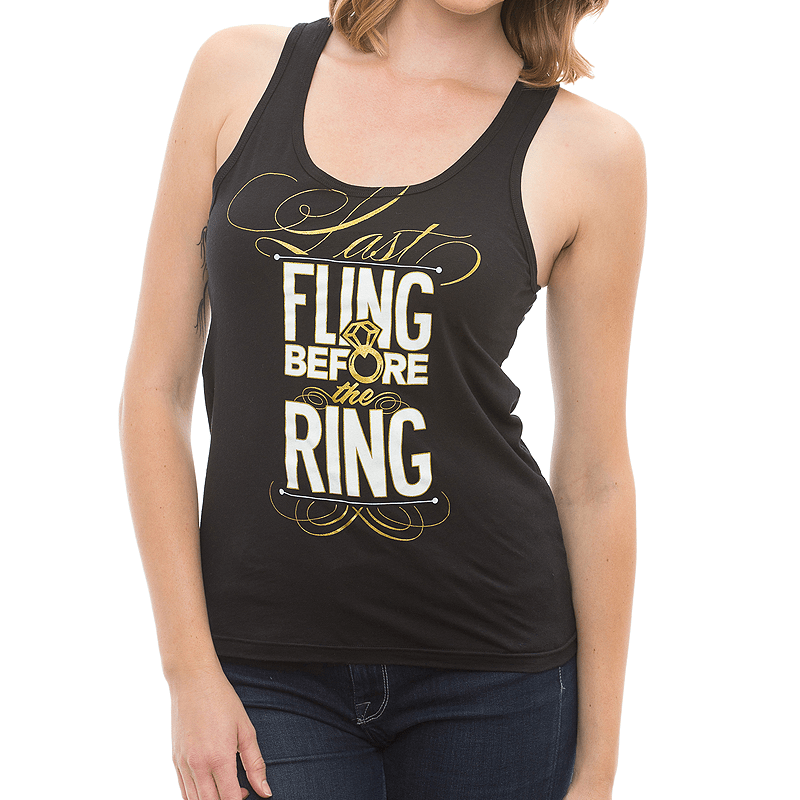 "Adorable ""Last Fling Before the Ring"" metallic diamond ring bachelorette tank tops by Bachette.com! Natalie is 5'10 and wearing a size Small."