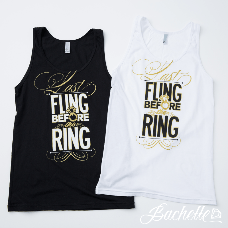 "Adorable ""Last Fling Before the Ring"" metallic diamond ring bachelorette tank tops by Bachette.com!"