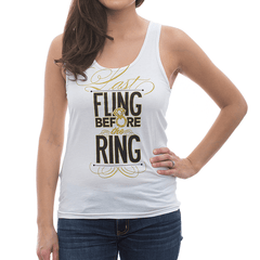 "Adorable ""Last Fling Before the Ring"" metallic diamond ring bachelorette tank tops by Bachette.com! Marisa is 5'6 and wearing a size Small."