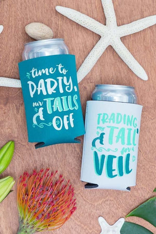 Adorable mermaid bachelorette party koozies - Trading my Tail for a Veil and Time to Party our Tails Off - by Bachette.com