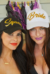 Bride & Squad Glittery Gold Party Hats