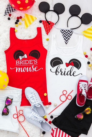 "Adorable ""Bride's Mouse"" and Bride mouse ears bachelorette party shirts! SO CUTE and perfect for a bachelorette party!"