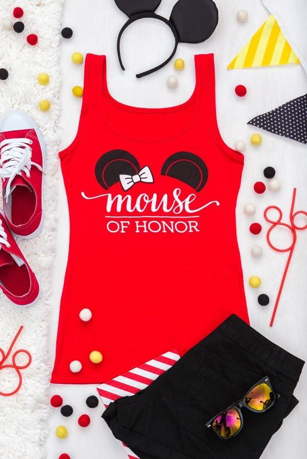 Mouse of honor bachelorette party shirt for the maid of honor