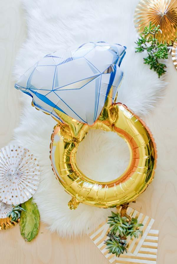 Bachelorette party decorations - oversized diamond ring bride balloons