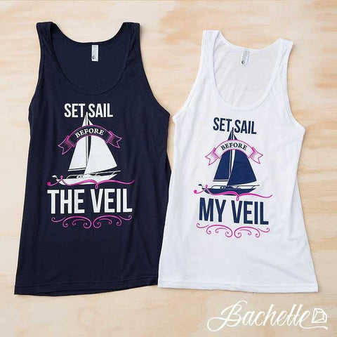 "Super cute ""Set Sail Before the Veil"" nautical sailing bachelorette party shirts available at bachette.com."