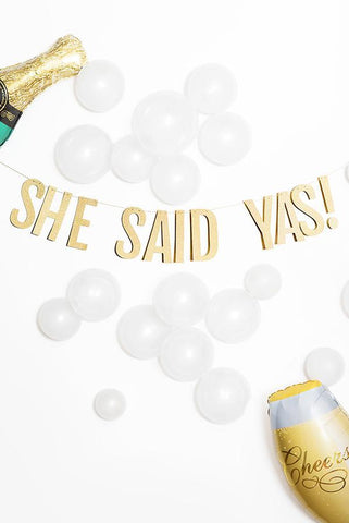 She Said Yas! Glitter Party Banner