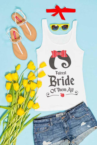 So cute! The Fairest Bride of all! Snow Bride and the Seven Bridesmaids glittery bachelorette party tank tops! Everyone can have a shirt that matches their personality!