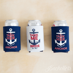 "Adorable navy red and white ""Help Us Tank Her Before She Drops Anchor"" Nautical Bachelorette party beer koozies available at Bachette.com!"