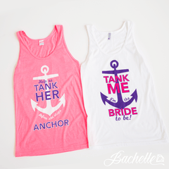 "Adorable pink and purple ""Help Us Tank Her Before She Drops Anchor"" Nautical Bachelorette party tank tops available at Bachette.com!"