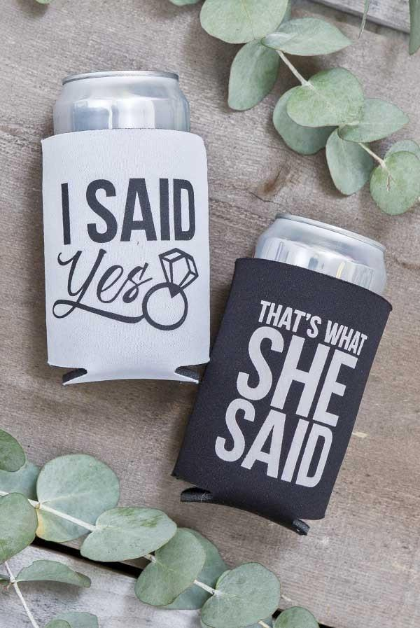 "Funny ""I Said Yes"" and ""That's What She Said"" bachelorette party koozies - funny bachelorette party accessories and decorations"