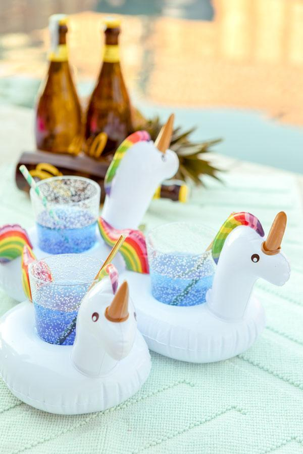 unicorn pool party drink floats