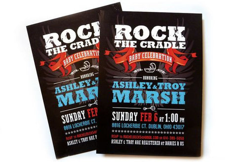 Rock baby shower invitations