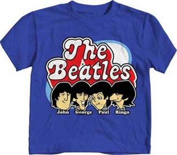 Beatles Cartoon Heads Blue T-shirt