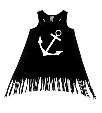 Anchor Black Tank Top Fringe Dress