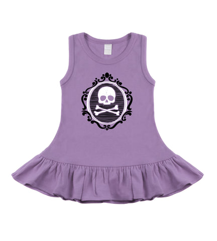 Cameo Skull Lavender & Black Sleeveless Dress