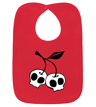 Cherry Skulls Red Bib