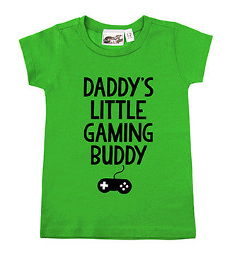 Daddy's Little Gaming Buddy Lime Green T-shirt