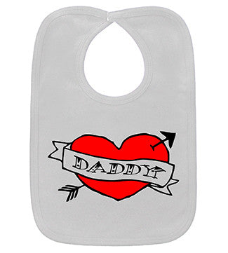 Daddy Heart Tattoo White Bib