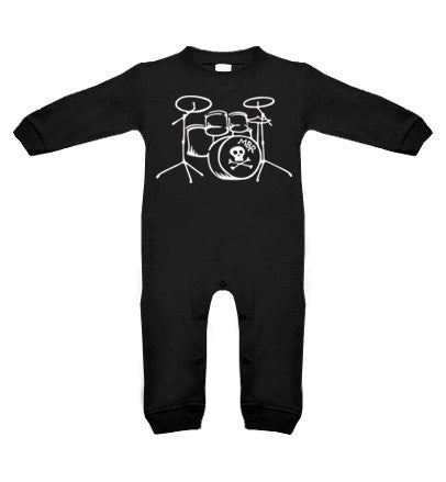Drums Long Sleeve Black Romper