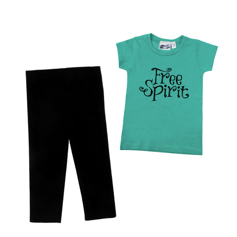 Free Spirit 2 Piece Aqua T-shirt & Black Leggings Gift Set
