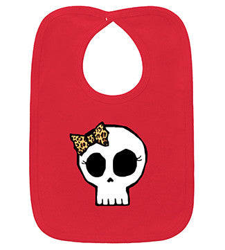 Leopard Bow Girly Skull Red Bib