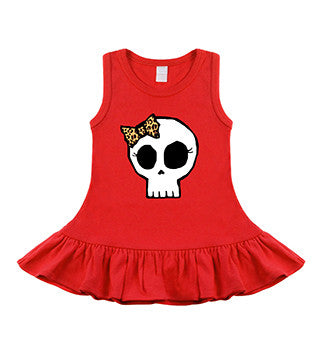 Leopard Bow Girly Skull Red Sleeveless Dress