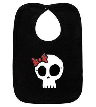 Plaid Bow Girly Skull Black Bib