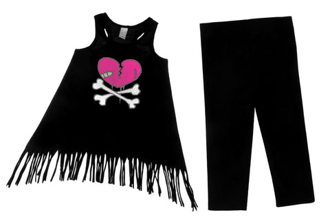 Heart crossbones dress leggings set infant toddler