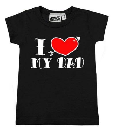 I Love My Dad Tattoo Black T-shirt