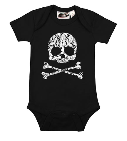 Gothic Lace Skull Black & White One Piece