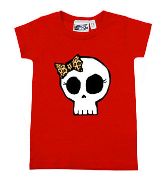 Leopard Bow Girly Skull Red T-Shirt