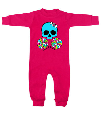 Lollipop Skull Hot Pink Long Sleeve Romper