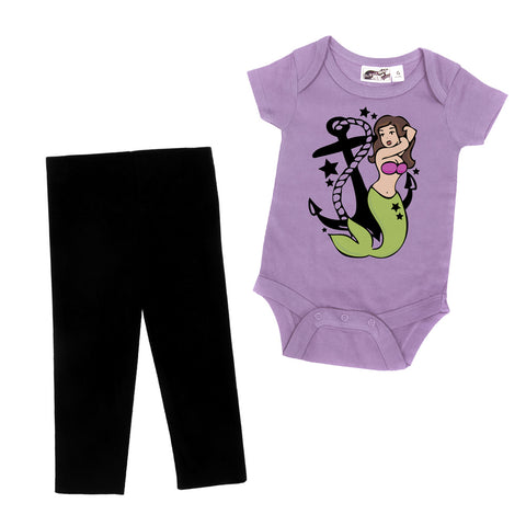 Mermaid Tattoo 2 Piece Lavender One Piece & Black Leggings Gift Set
