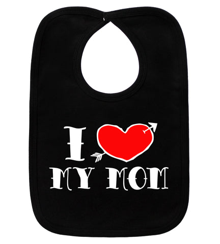 I Love My Mom Tattoo Black Bib