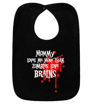 Mommy Loves Me Zombie Black Bib