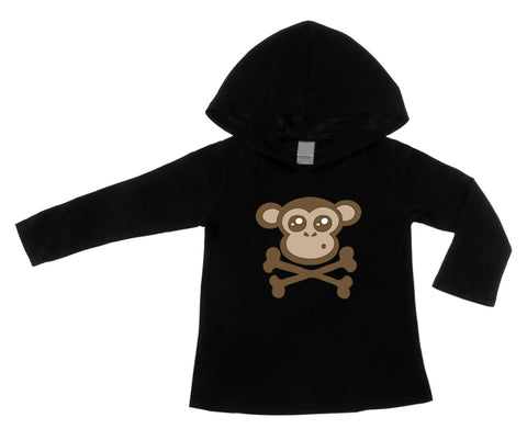 Monkey Crossbones Black Lightweight Pullover Hoodie